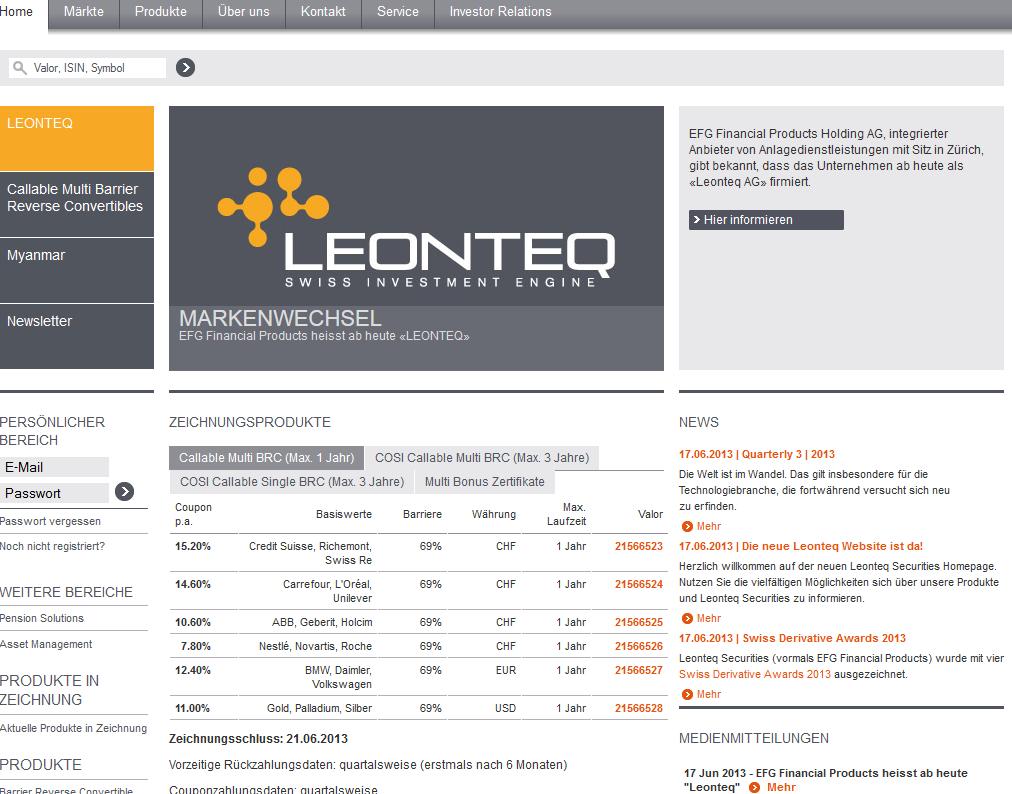 leonteq webseite