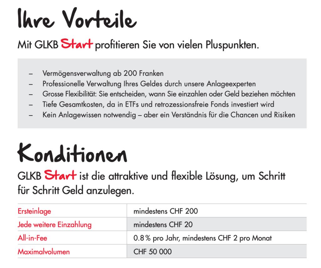 GLKB Start: Anlegen ab 200 Franken
